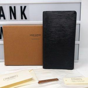 Louis Vuitton Black Epi leather Brazza Long wallet